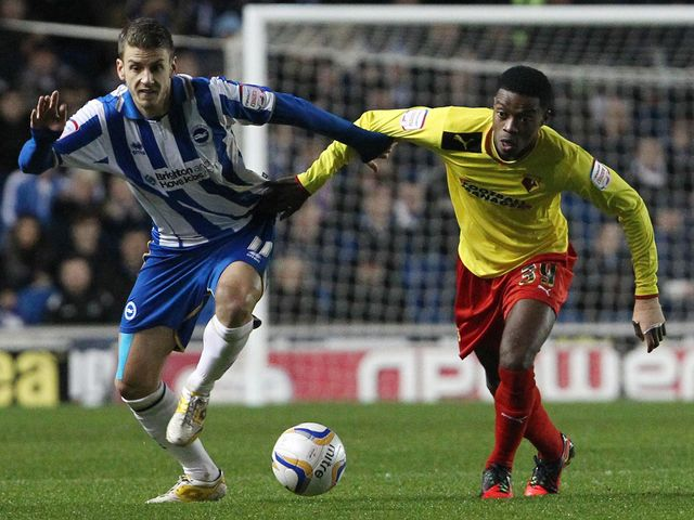 Andrea Orlandi and Nathaniel Chalobah vie for the ball