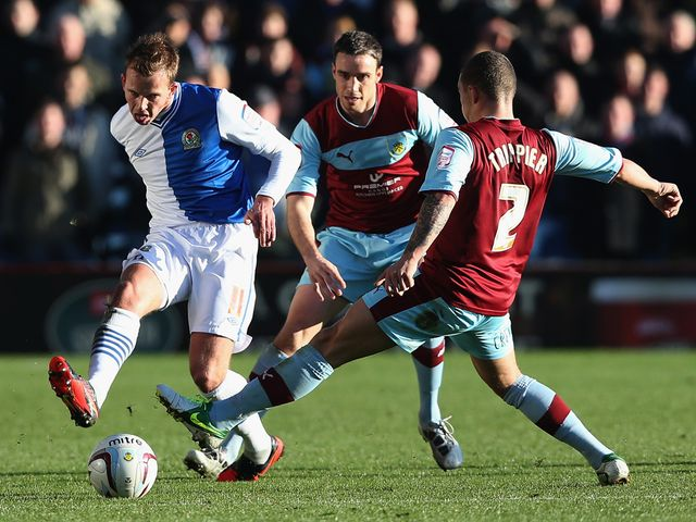 Jordan Rhodes in action for Blackburn.