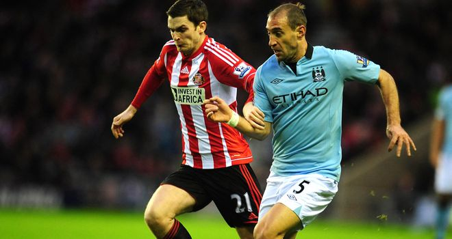 Adam Johnson: On the ball against former club Manchester City