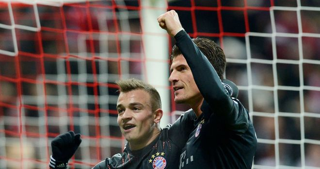 Mario Gomez: Celebrates his goal for Bayern with Xherdan Shaqiri