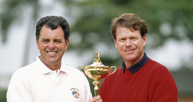 Bernard Gallacher and Tom Watson clashed in Ryder Cup action