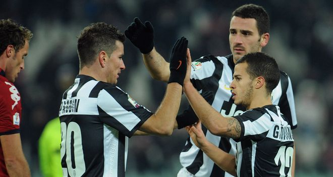Sebastian Giovinco: Celebrates his winner against Cagliari on Wednesday night