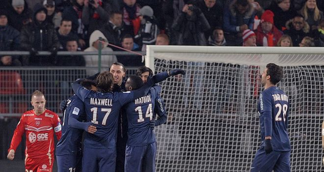 Zlatan Ibrahimovic: Celebrates with his PSG team-mates