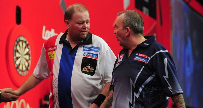 Phil Taylor and Raymond van Barneveld: Old rivals in on-stage spat