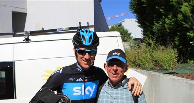 Loyal fan: Rusty with Bradley Wiggins