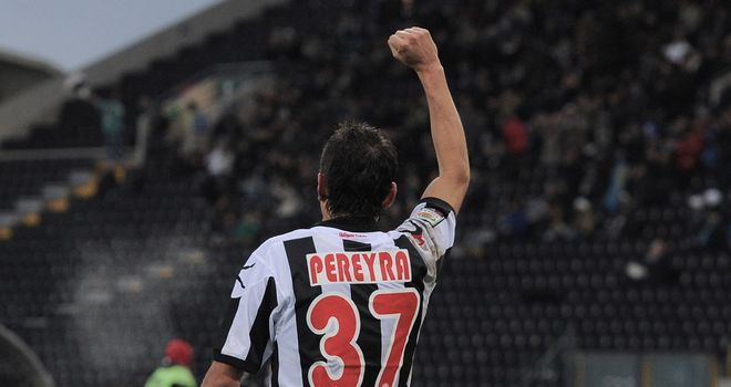 Roberto Pereyra enjoys his goal.