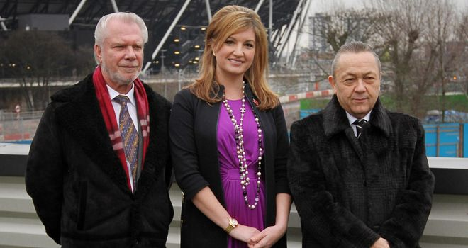 West Ham's David Gold, Karren Brady and David Sullivan