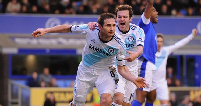 Frank Lampard was the two-goal hero as Chelsea beat Everton