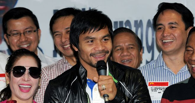 Manny Pacquiao addressing his adoring fans