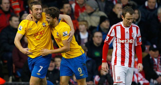 Rickie Lambert and Jay Rodriguez: On target in Southampton's 3-3 draw with Stoke at the Britannia