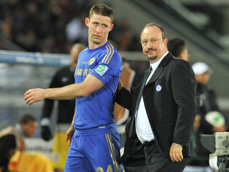 Gary Cahill leaves the field after his red card.