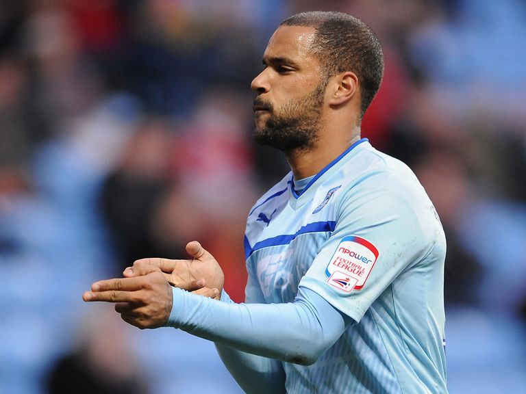 David McGoldrick celebrates the first of his two Coventry goals