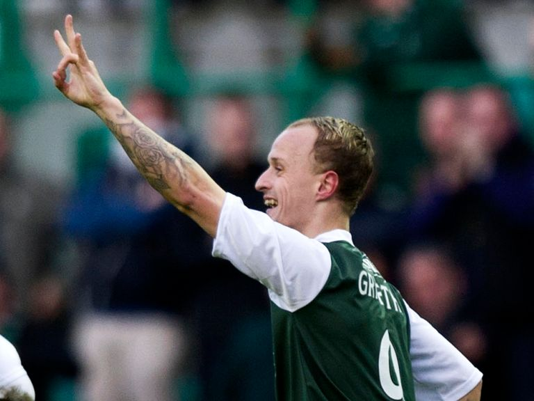 Leigh Griffiths celebrates the only goal
