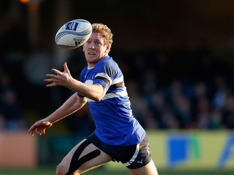 Bath's Sam Vesty juggles a pass against Calvisano