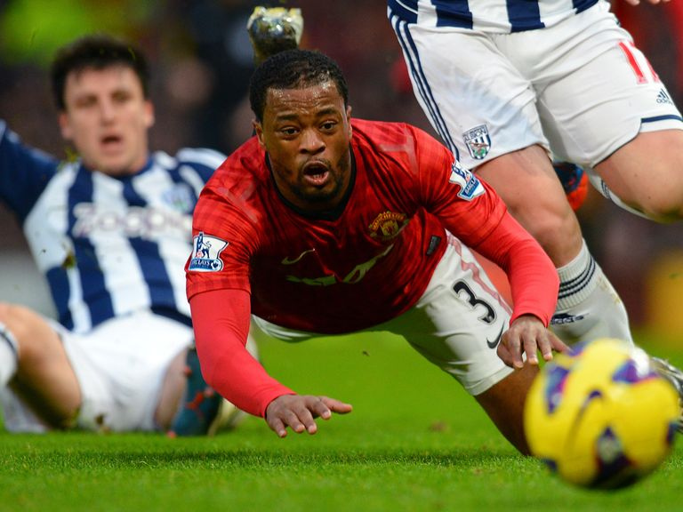 Patrice Evra in action against West Brom