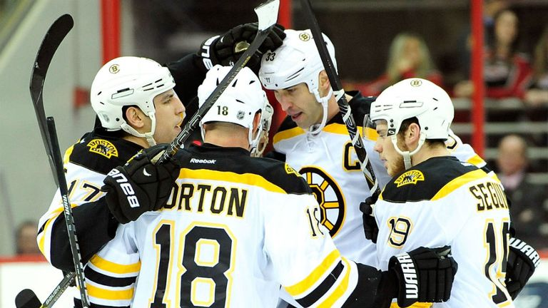 Boston Bruins celebrate Zdeno Chara's goal