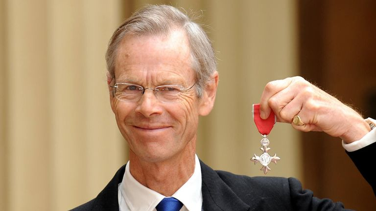 Christopher Martin-Jenkins after receiving his MBE in 2009