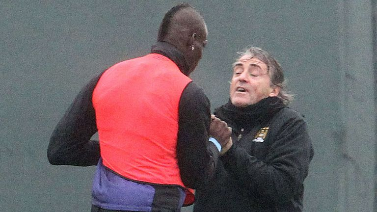 Roberto Mancini and Mario Balotelli clash at City's training ground