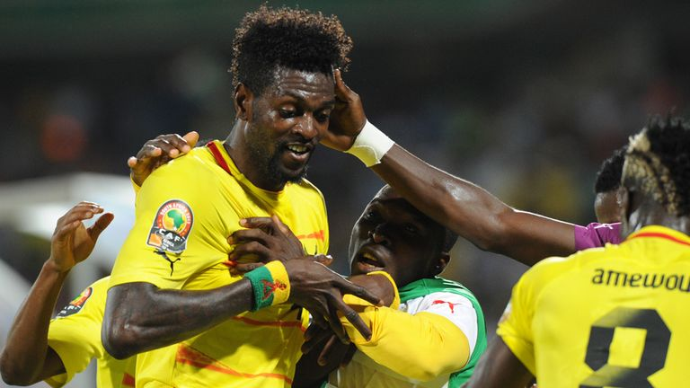 Emmanuel Adebayor: Celebrates the opening goal for Togo