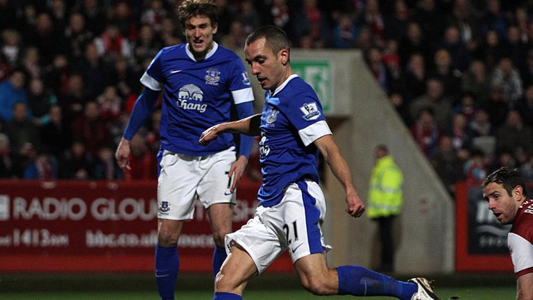 Leon Osman scores during 5-1 win against Cheltenham