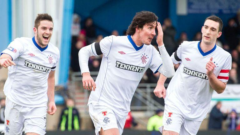 Fran Sandaza: Celebrates scoring the winner for Rangers
