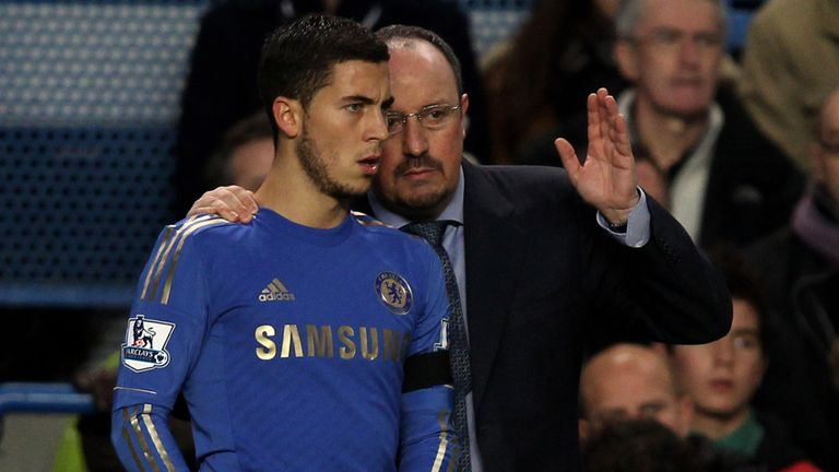 Rafa Benitez and Eden Hazard on the Chelsea touchline