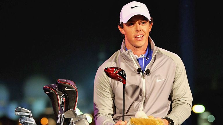 Rory McIlroy at his big Nike unveiling in Abu Dhabi