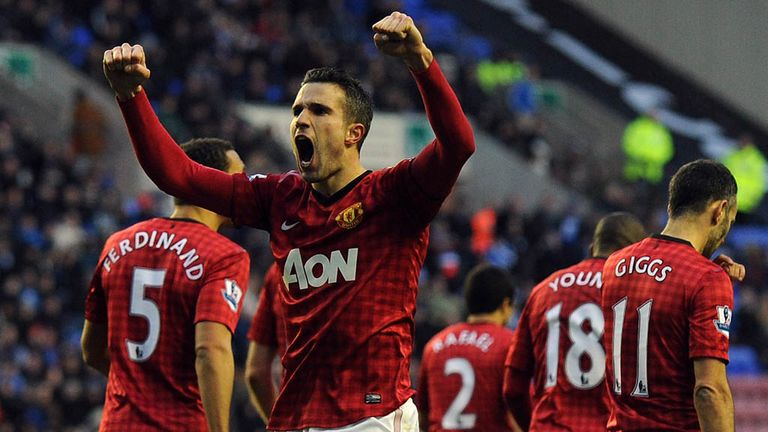 Robin van Persie: Celebrates after scoring against Wigan
