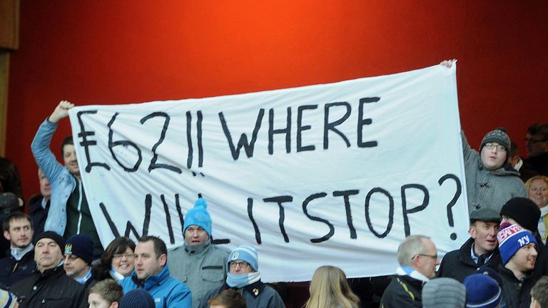 Manchester City fans: Banner questioning Arsenal ticket prices