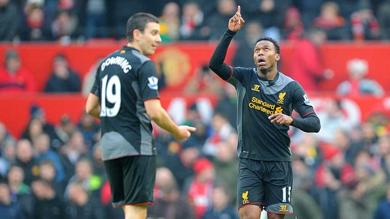 Stewart Downing: Winger celebrates Liverpool's goal at Old Trafford with Daniel Sturridge