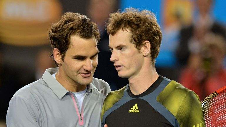 Roger Federer congratulates Andy Murray on his win