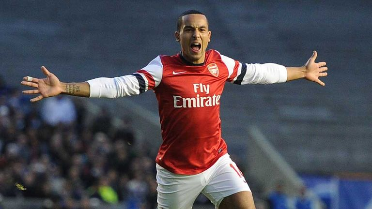 Theo Walcott: Arsenal forward celebrates late winner at Brighton