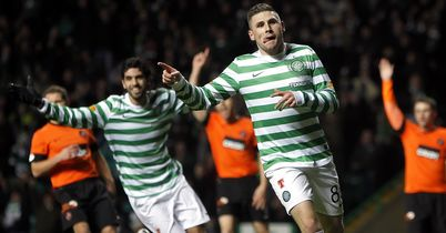 Gary Hooper: Celebrates scoring for Celtic against Dundee United