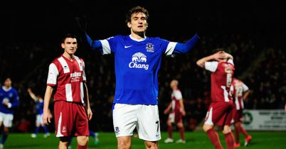 Nikica Jelavic pounced on a rebound to put Everton ahead