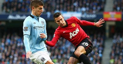 Robin van Persie: In action against City's Matija Nastasic