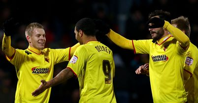 Matej Vydra and Troy Deeney: In-form goalscorers celebrate Italian's second