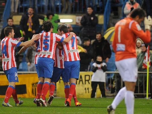 Atletico Madrid celebrate Koke&#39;s goal.