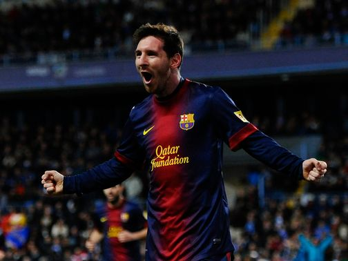 Lionel Messi celebrates his goal for Barcelona