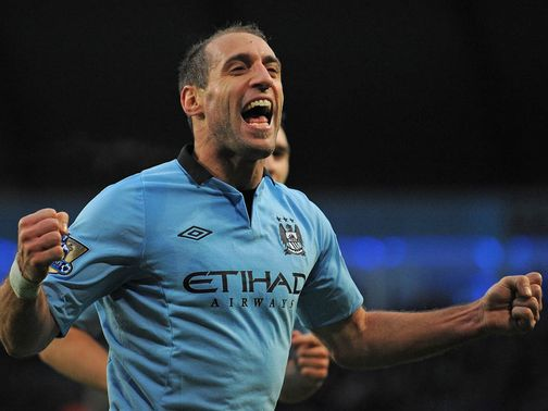 Pablo Zabaleta celebrates his goal against Stoke