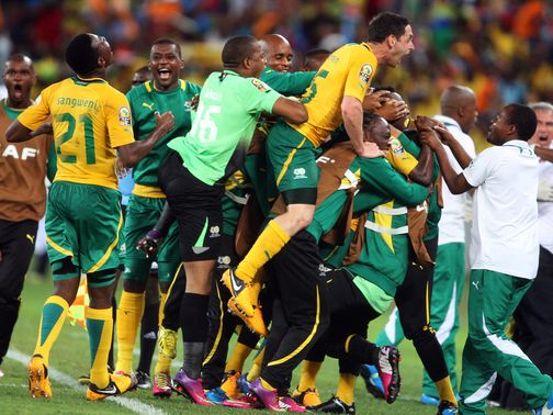 South Africa celebrate May Mahlungu's strike