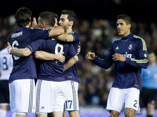 Real Madrid celebrate against Valencia