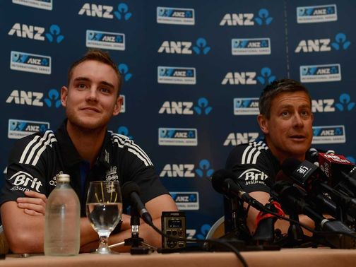 Stuart Broad and Ashley Giles prior to New Zealand series