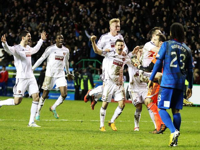 Hearts celebrate reaching the final