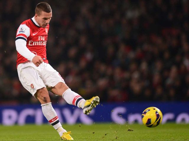 Lukas Podolski scores a superb goal for Arsenal