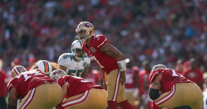 Colin Kaepernick: San Francisco 49ers quarterback calls the signals behind his offensive line