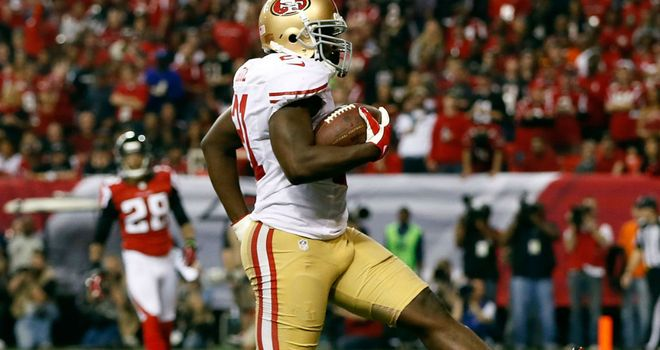 Frank Gore scores against the Atlanta Falcons