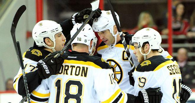 Boston Bruins celebrate Zdeno Chara's goal