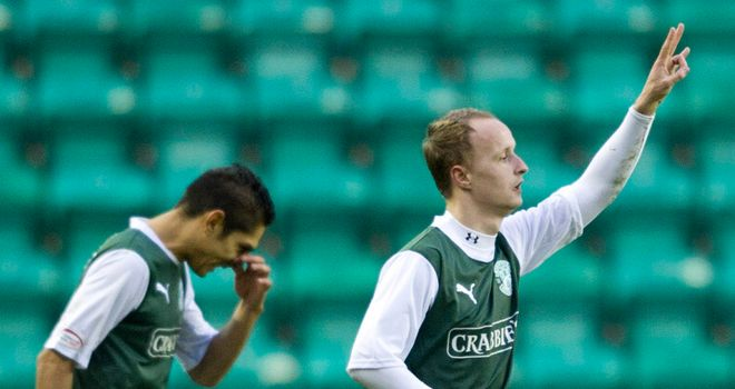Griffiths: Celebrates scoring for Hibernian