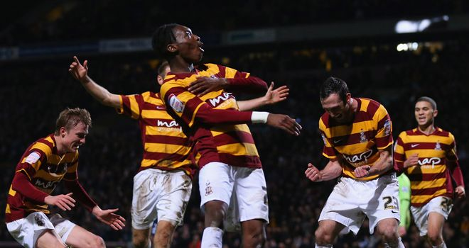 Bradford: Celebrate Carl McHugh's 88th-minute header