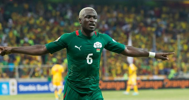 Djakaridja Kone: Celebrates his goal for Burkina Faso